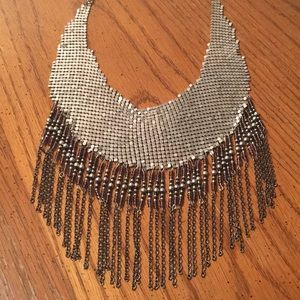 Free People statement necklace - silver mesh&beads